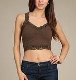 m rena crop lace trim corset cami