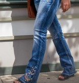 grace in LA floral blooming embroidered easy boot cut jeans
