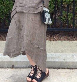 match point mesh linen frayed skirt