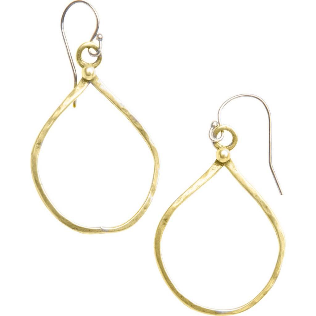 original hardware organic teardrop yellow bronze earrings