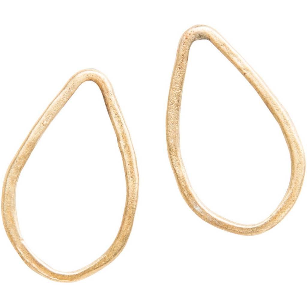 original hardware yellow bronze teardrop stud earrings