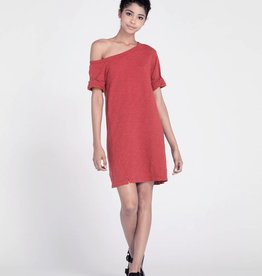wilt one shoulder roll cuff T dress