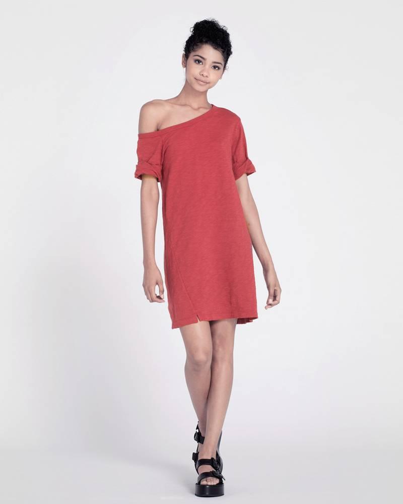 wilt one shoulder roll cuff T dress