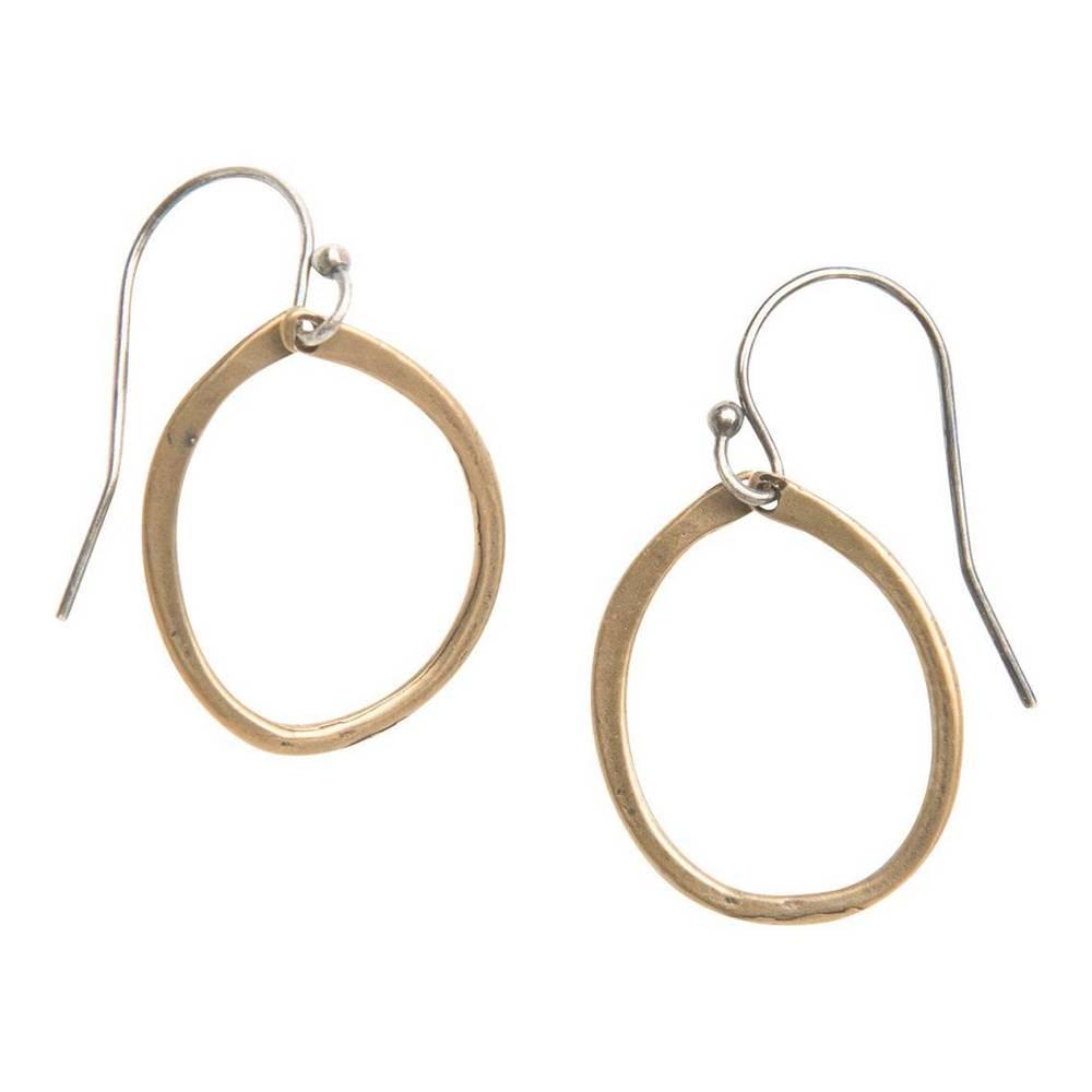 original hardware everyday satin yellow bronze mixed metal drop earring