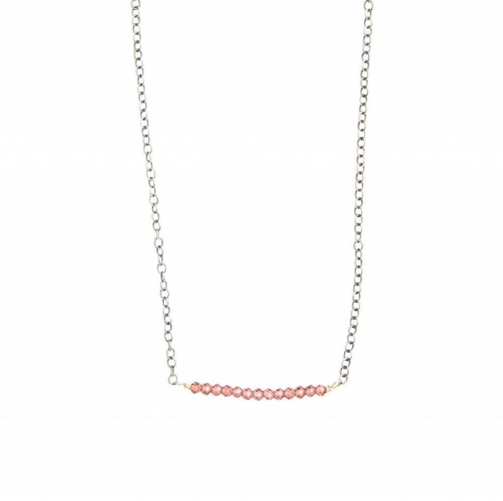 original hardware sterling silver pink corundum bar necklace