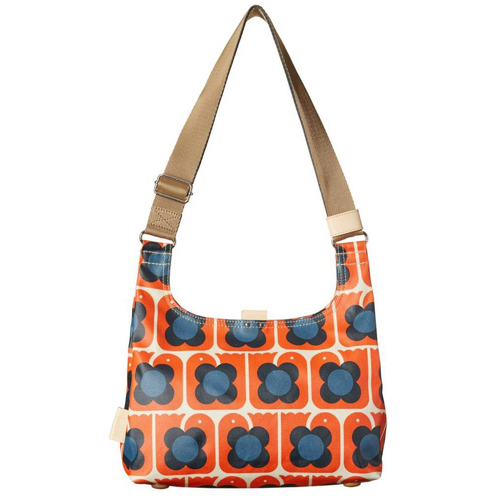 orla kiely love birds mini sling persimmon