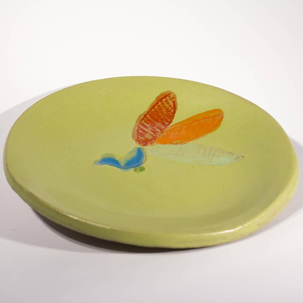 lisa neimeth round appetizer plate green