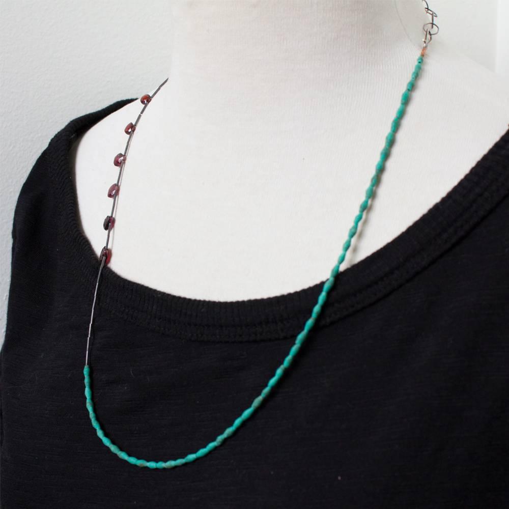 eric silva simple turquoise & garnet necklace