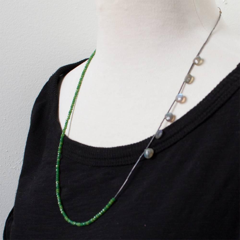 eric silva simple chrysoprase & laborite necklace