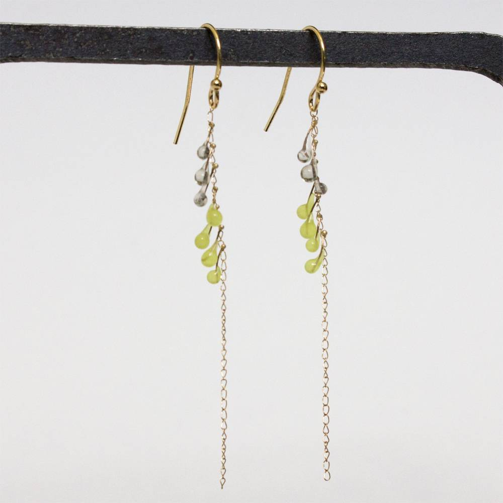 jess panza yellow green/grey fiber optic earrings