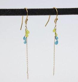 jess panza jess panza yellow green/aqua fiber optic earrings