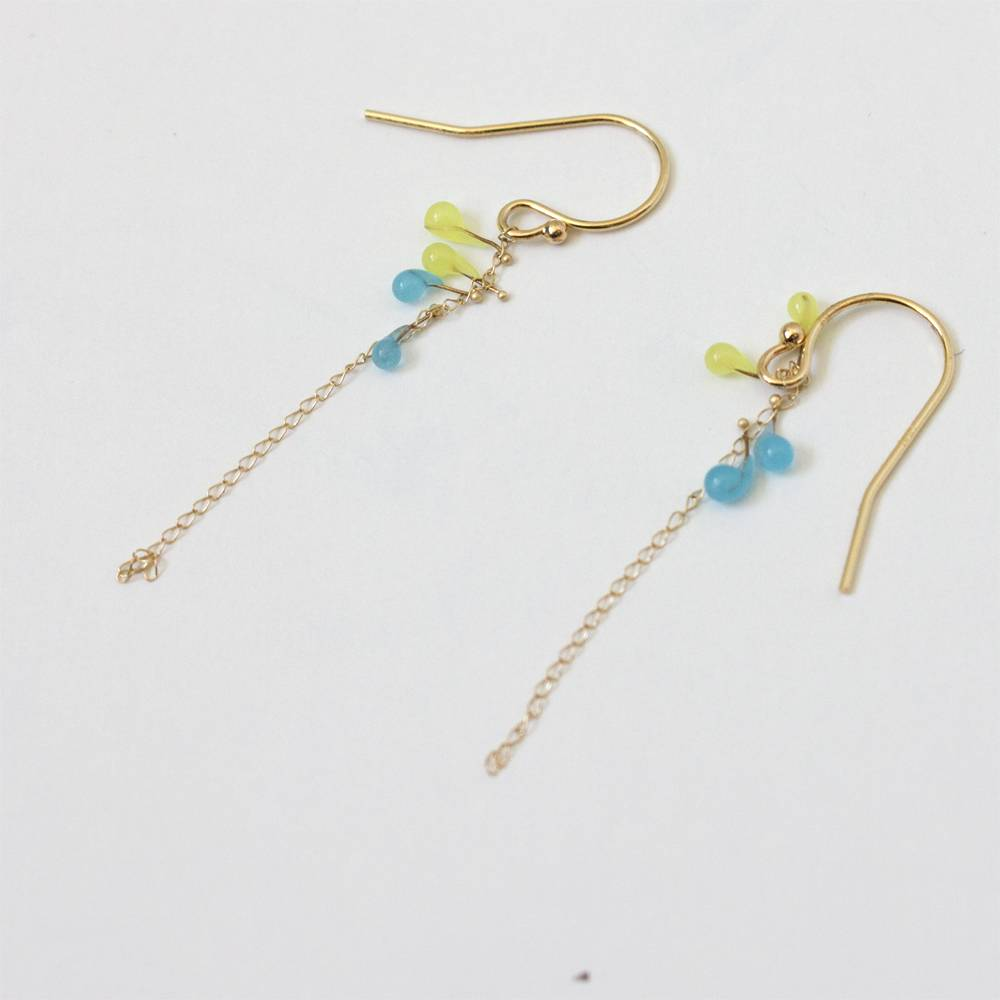 jess panza yellow green/aqua fiber optic earrings