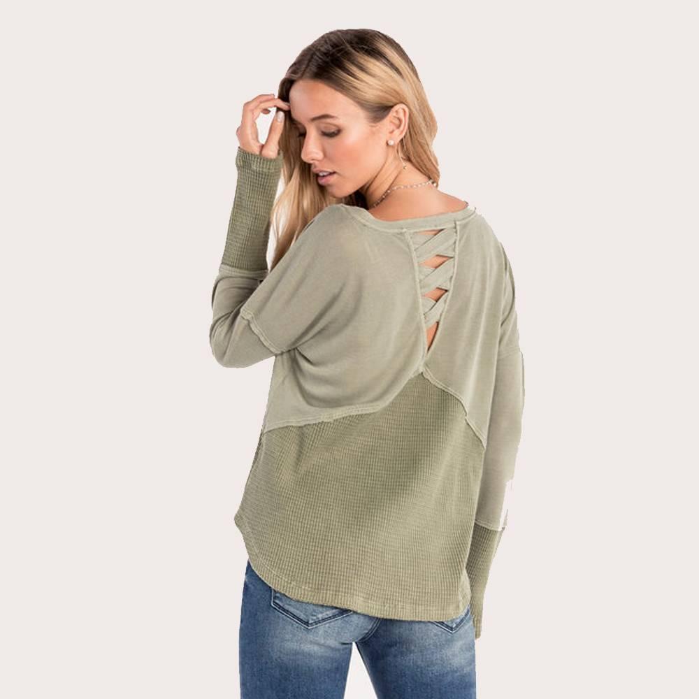 miss me knit criss cross back babydoll top sage green