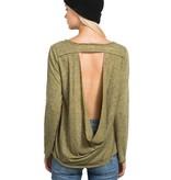 hem & thread drapey back long sleeve top green