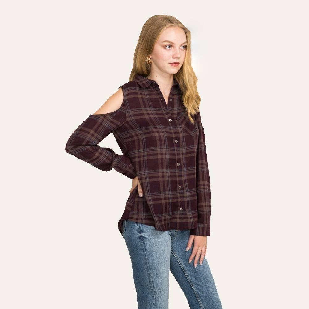 hem & thread cold shoulder lace back plaid shirt purple