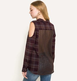 hem & thread hem & thread cold shoulder lace back plaid shirt purple