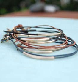 chocolate and steel chocolate and steel bar wrap bracelet