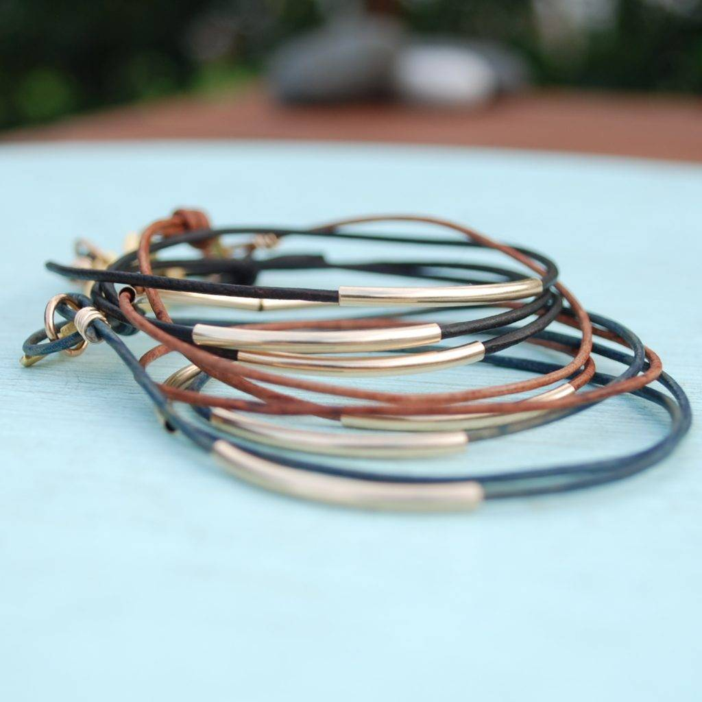 chocolate and steel bar wrap bracelet