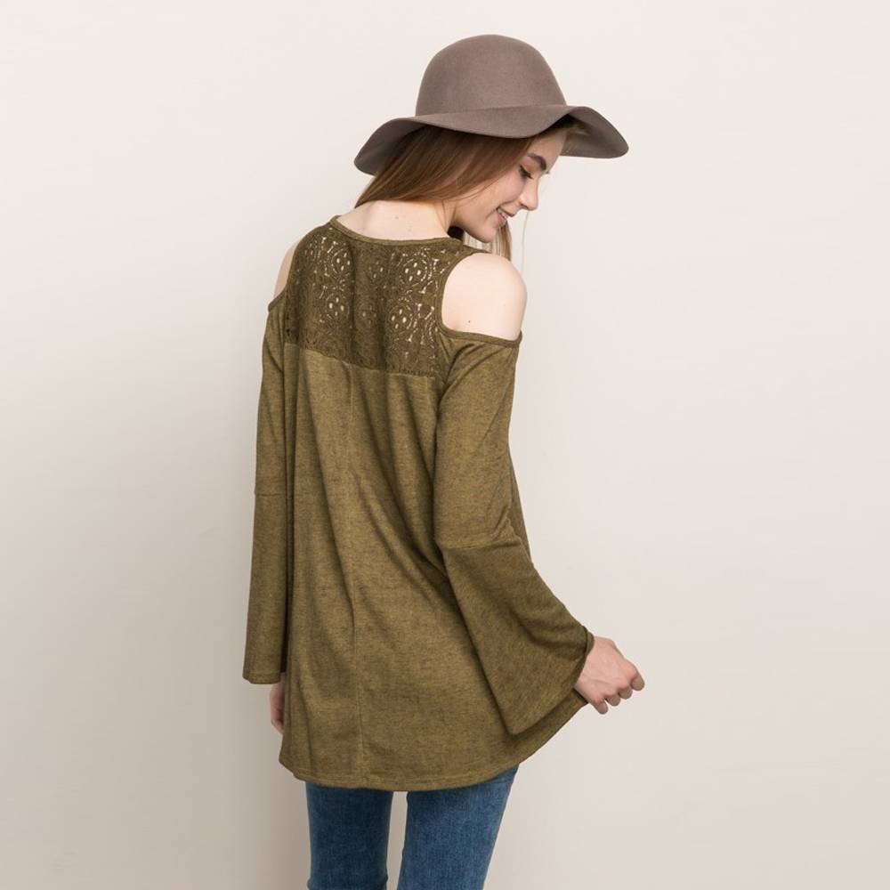 mystree cold shoulder v neck dye top olive