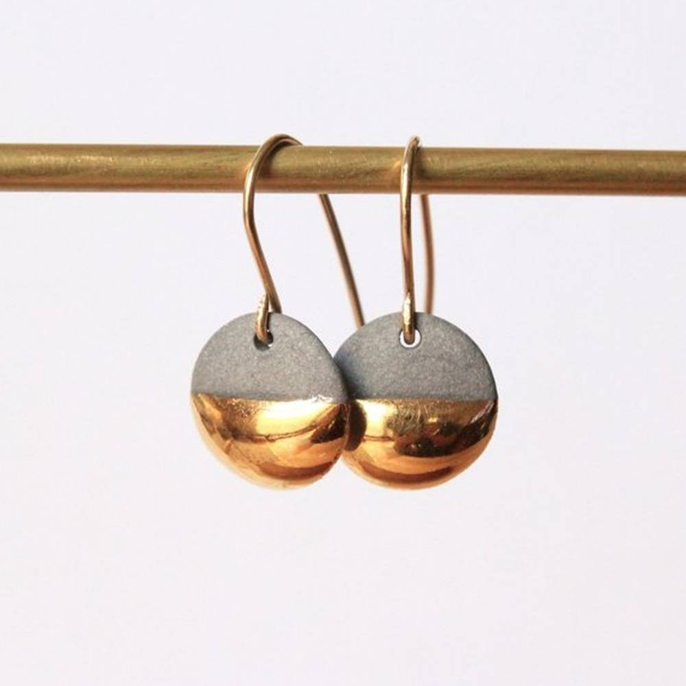 mier luo gold dipped flat circle earrings