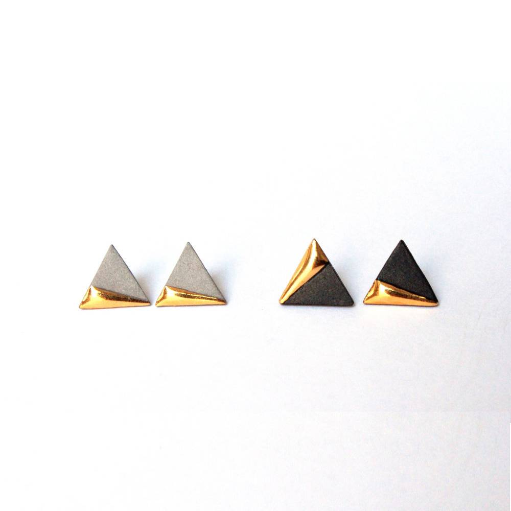 mier luo gold dipped triangle studs