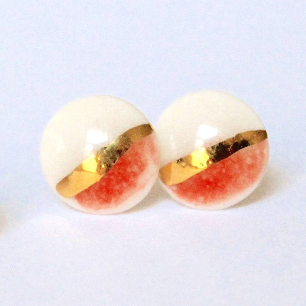 mier luo gold striped stud post earring