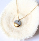 mier luo mier lou gold dipped flat circle necklace