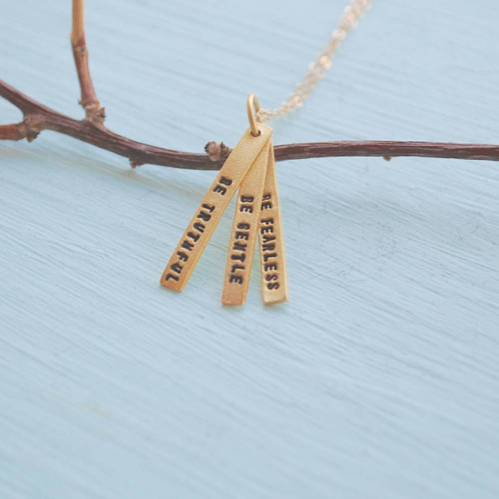 chocolate and steel chocolate and steel gold quote necklace with 3 short bars