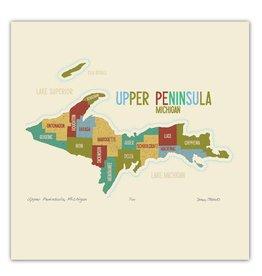 "james steeno gallery james steeno upper peninsula michigan art map 12""x12"""