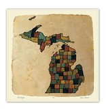 james steeno gallery james steeno michigan patterns state counties pen and ink map print