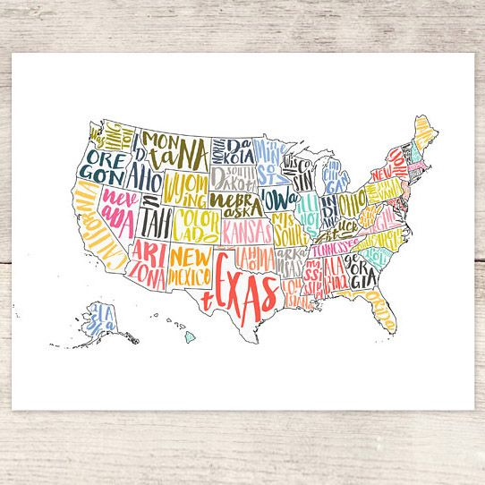 haven paperie usa map print
