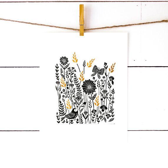 richelle bergen meadow lino print