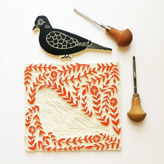 richelle bergen mourning dove block print