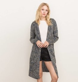 mystree mystree jacquard front hooded cardigan blue/taupe