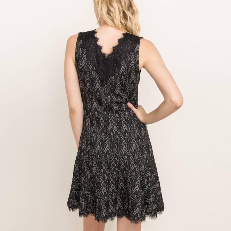 mystree mystree jacquard jersey deep v dress black