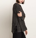 mystree mystree side tied bell sleeve pullover charcoal