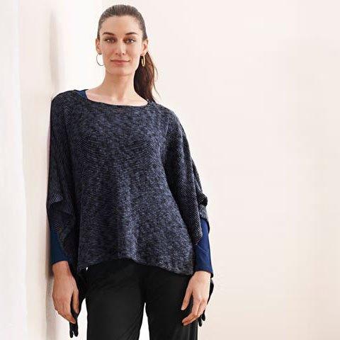 blue canoe sweater poncho navy blue