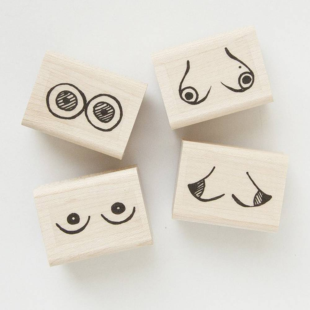native bear native bear boob rubber stamp set