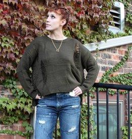 elan elan sweater w/ side ties in dark olive