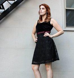 mystree mystree black a-line velvet and lace dress black