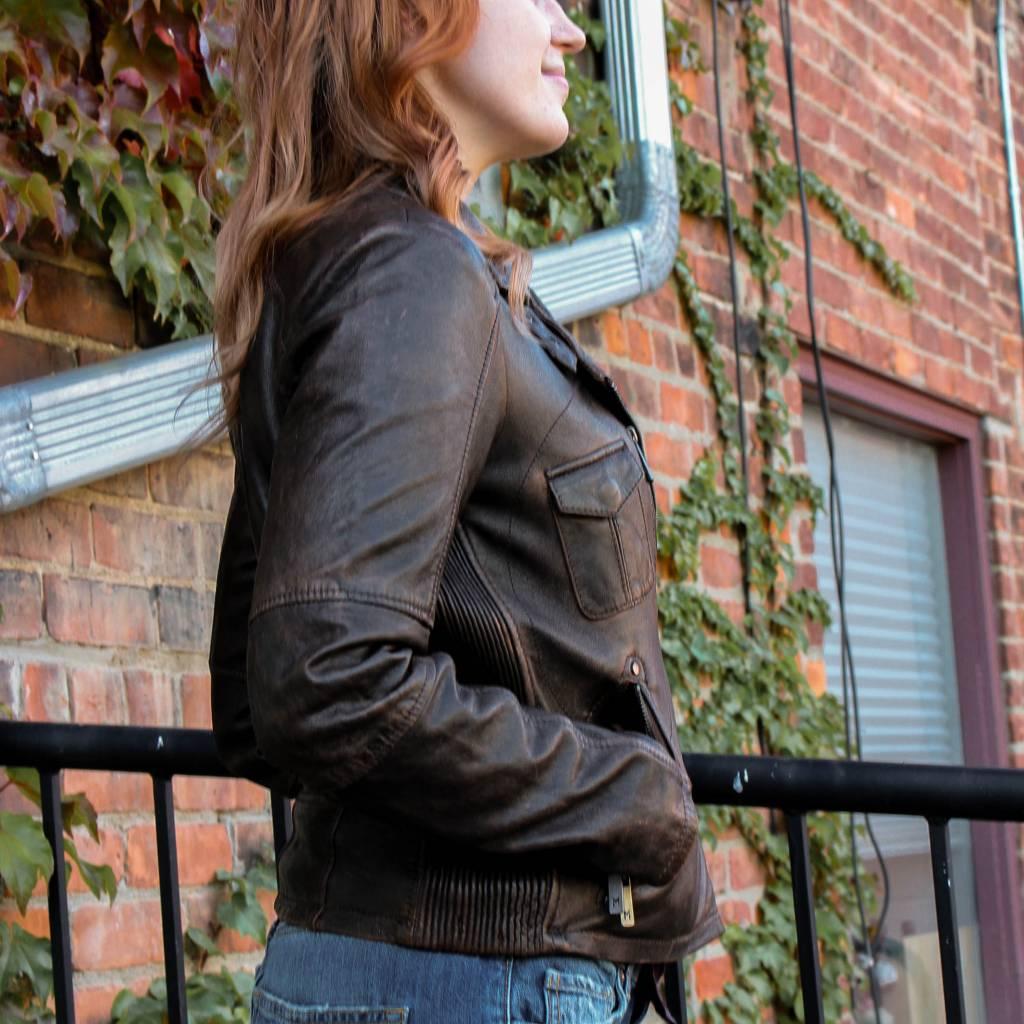 mauritius jamie slim fit  vintage brown leather jacket