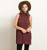 hem & thread hem & thread side slit cable knit turtleneck sweater vest burgundy