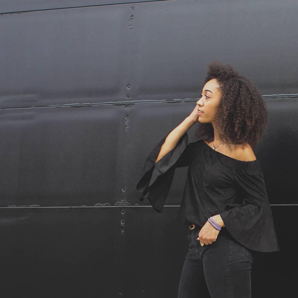 standard ppla standard off shoulder sueded velvet top black