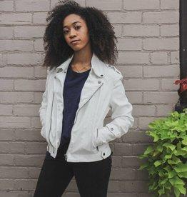 jakett jakett josey white hammered leather jacket