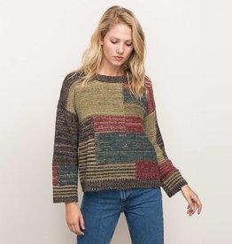 mystree mystree color block pull over sweater
