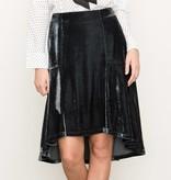 mystree mystree velvet fit & flare skirt teal