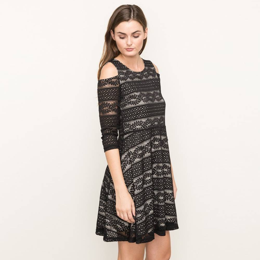 mystree mystree cold shoulder fit & flare dress