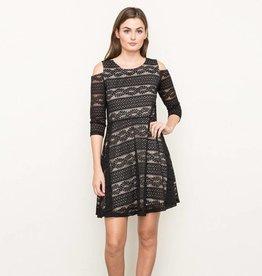 mystree mystree cold shoulder fit & flare dress