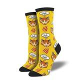 socksmith moody cat socks yellow