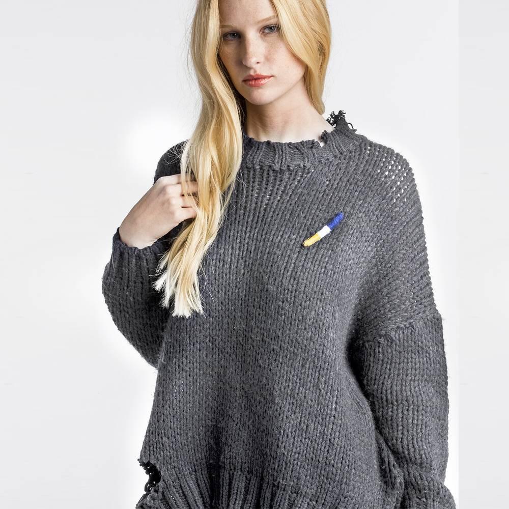 mm vintage mm vintage mockneck fringe sweater grey